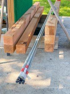 outdoor patio lighting & privacy diy supplies cedar posts aluminum poles