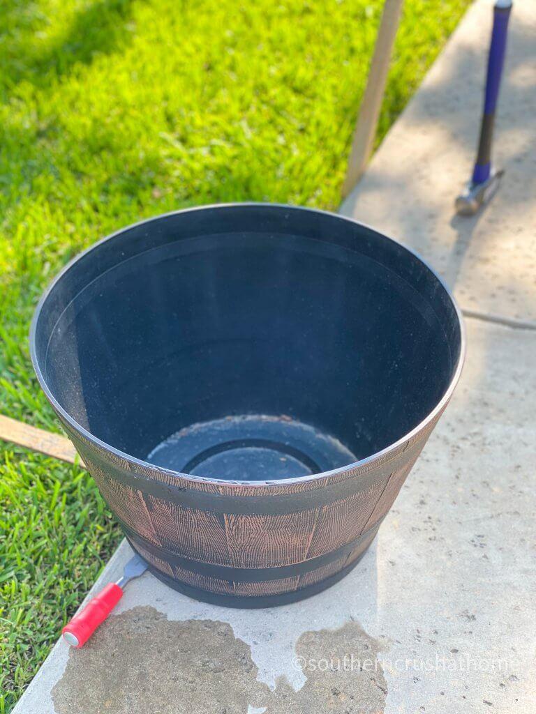outdoor patio lighting & privacy diy bucket whiskey barrel