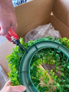 outdoor patio lighting & privacy diy snipping wreath