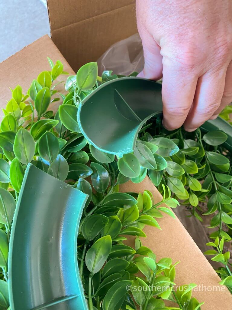 outdoor patio lighting & privacy diy wreath close up snipped