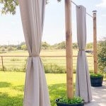 outdoor patio lighting & privacy diy curtains drawn