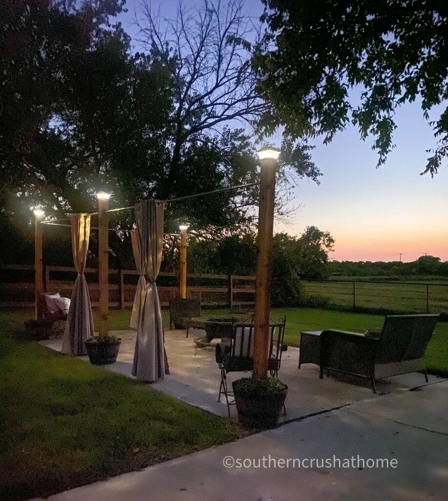 outdoor patio lighting & privacy diy night time
