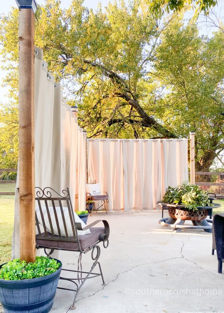 outdoor patio lighting & privacy diy curtains open