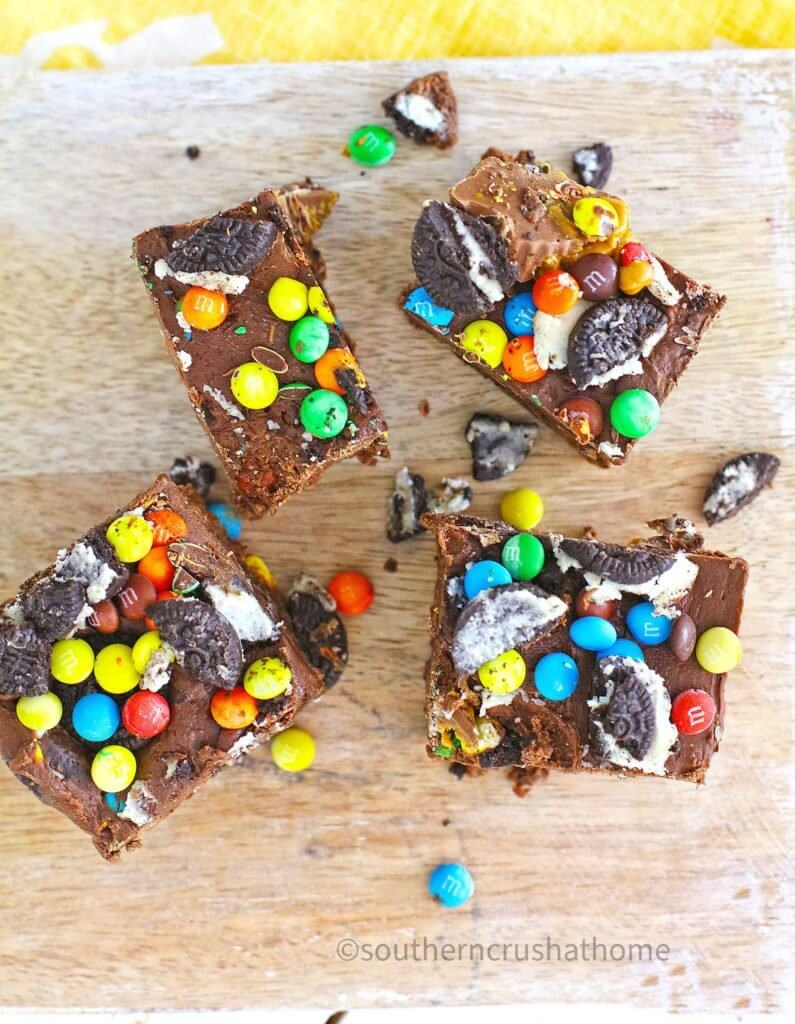 candy fudge squares with oreos and peanut butter cups