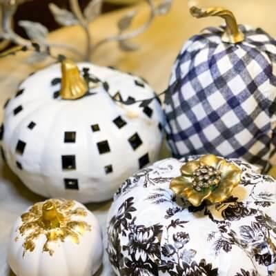 4 Easy Dollar Tree Black and White Pumpkin Ideas