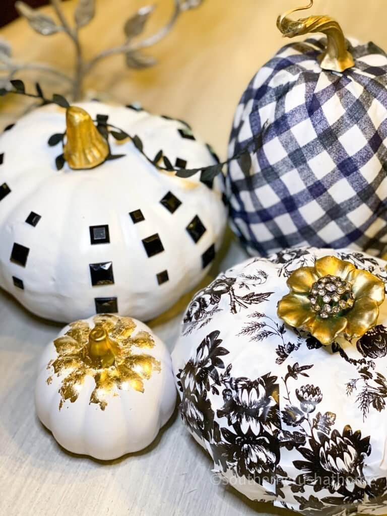 4 Easy Dollar Tree Black and White Pumpkin Ideas close up final