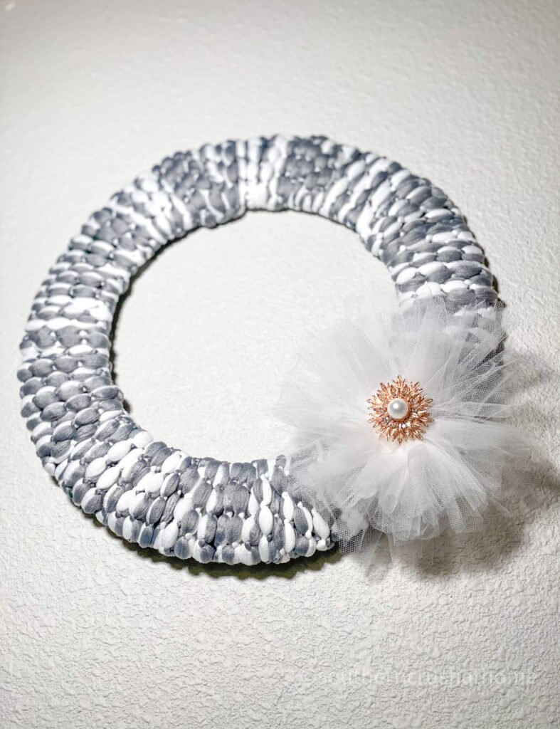 Dollar Tree Mop Head Wreath final looking up