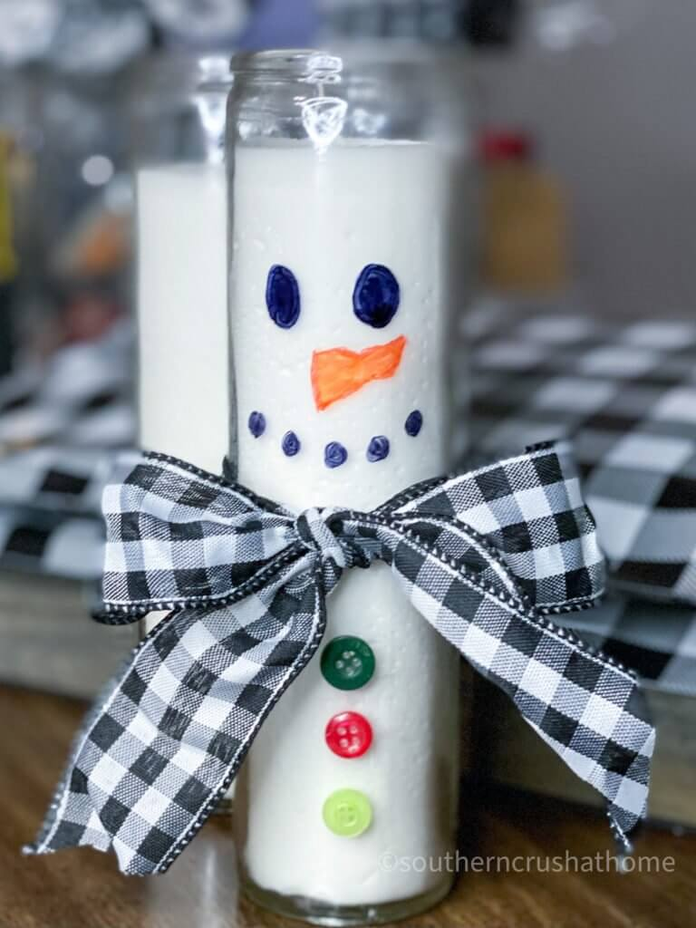 Dollar Tree Snowman Candle DIY final close up