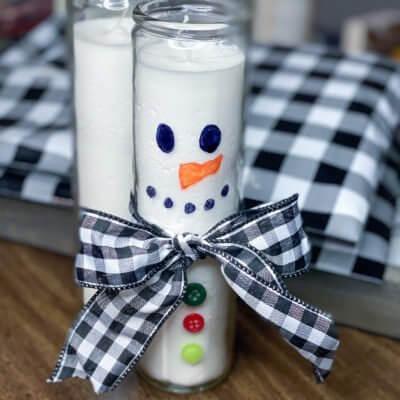 Easy $2 Dollar Tree Snowman Candle DIY