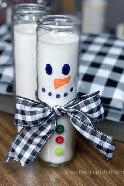 Dollar Tree Snowman Candle DIY Final
