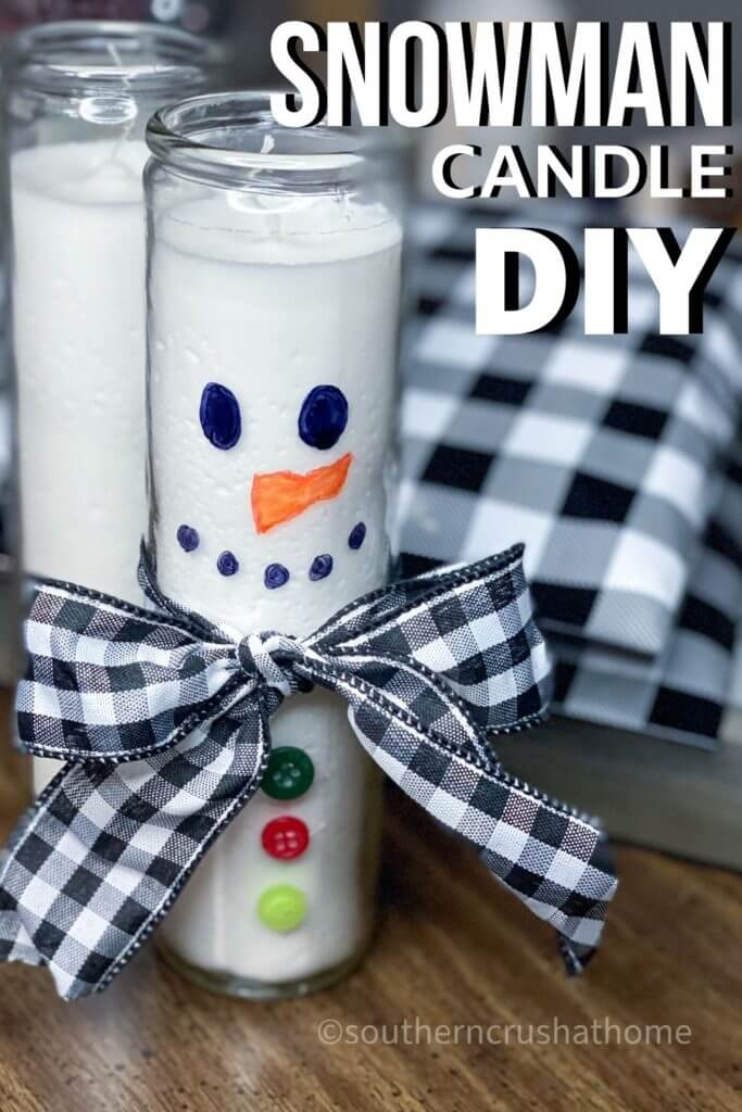Dollar Tree Snowman Candle DIY PIN