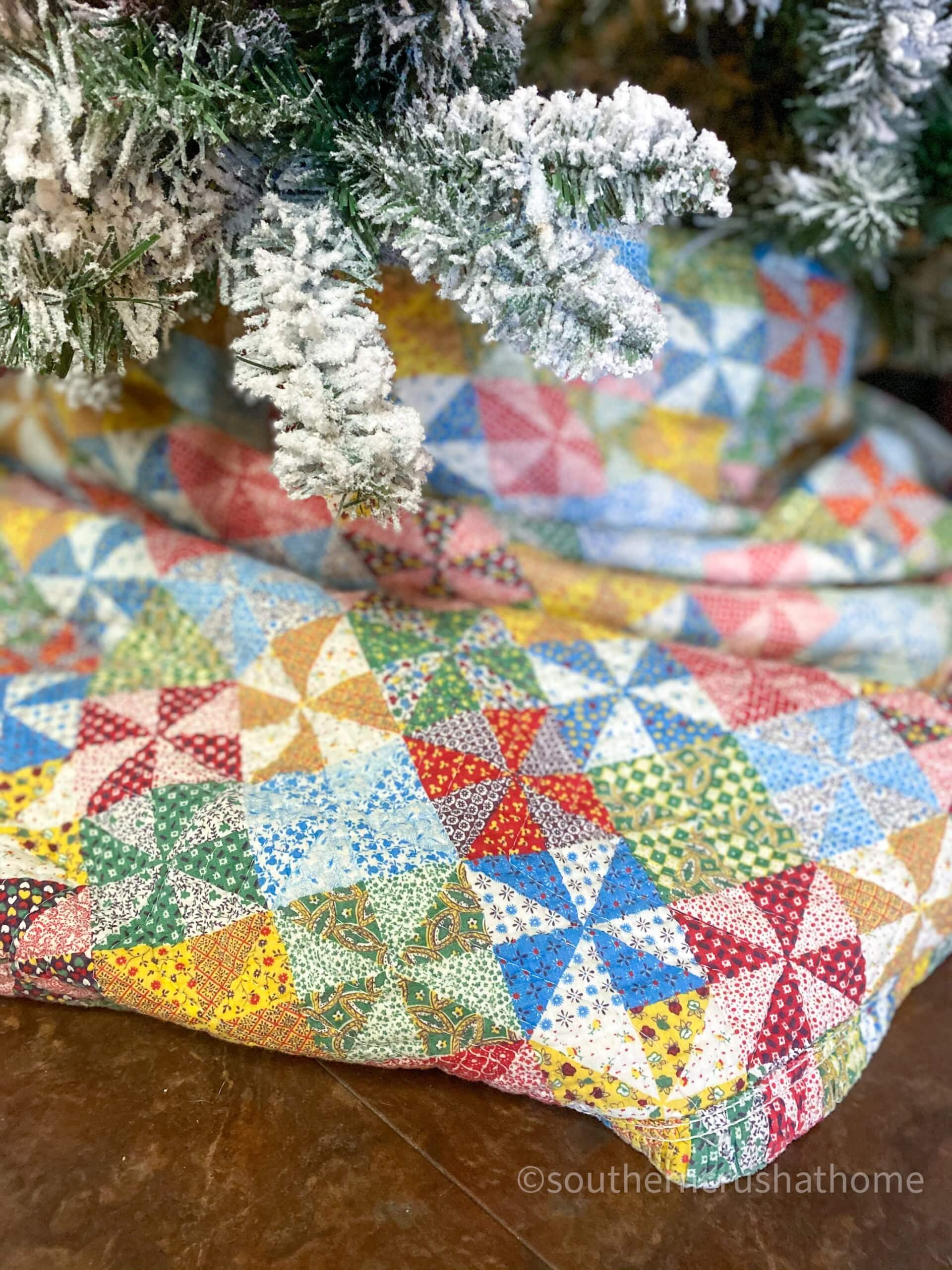 Pioneer Woman themed Christmas Tree quilt tree skirt