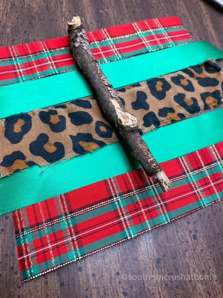 Scrap Fabric Tree Ornament multi colored strips