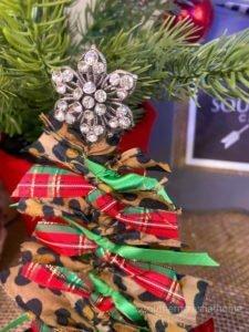 Scrap Fabric Tree Ornament bling