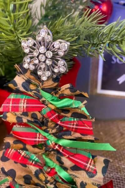 Scrap Fabric Tree Ornament bling