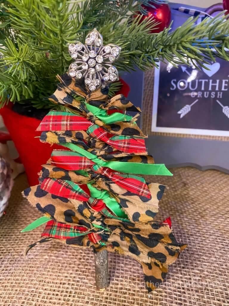 Scrap Fabric Tree Ornament close up