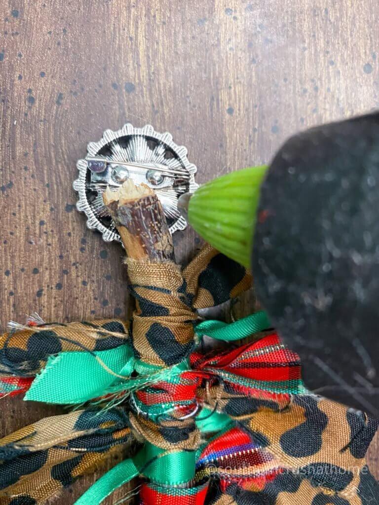 Scrap Fabric Tree Ornament gluing embellishment