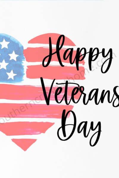 happy veterans day free printable