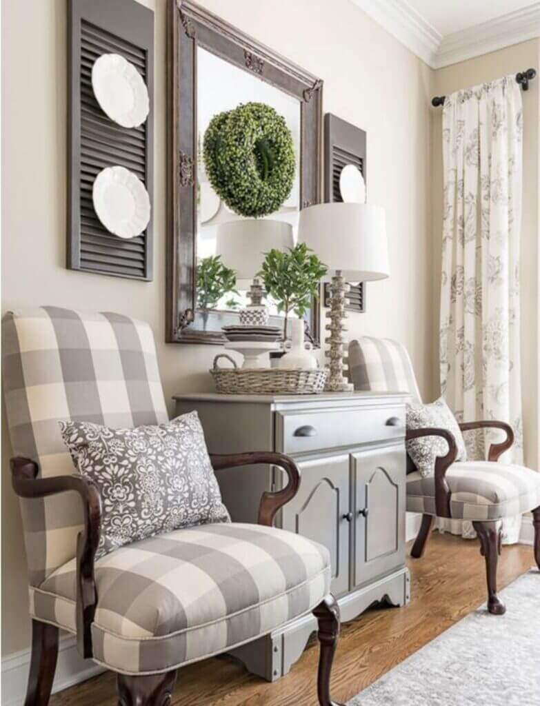 Buffalo Check Gray Beige Upholstered Chairs
