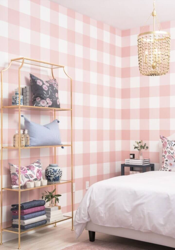 pink and white buffalo check wall