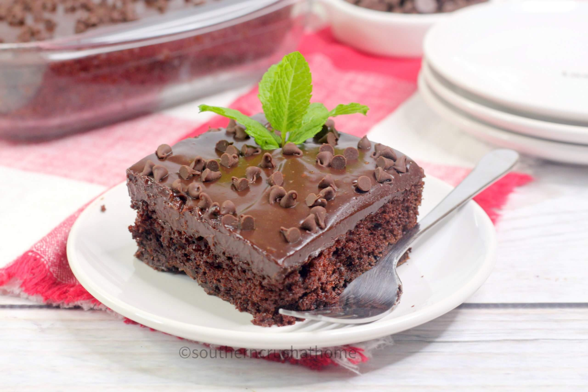 Chocolate Mint Texas Sheet Cake Close up