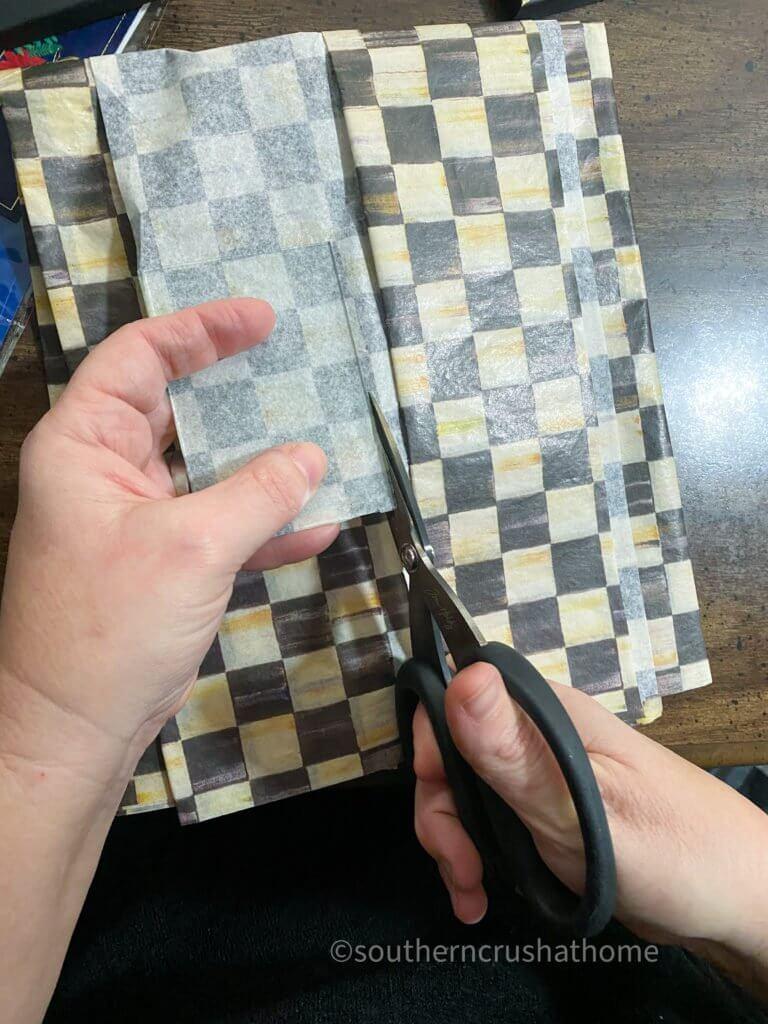 trimming tissue paper