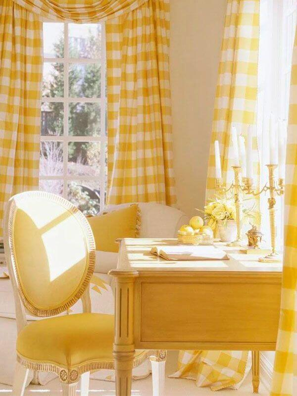 yellow buffalo check pattern curtains