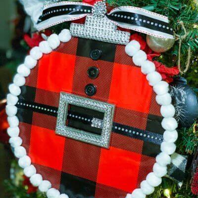 Dollar Tree Splatter Screen Buffalo Check Ornament DIY