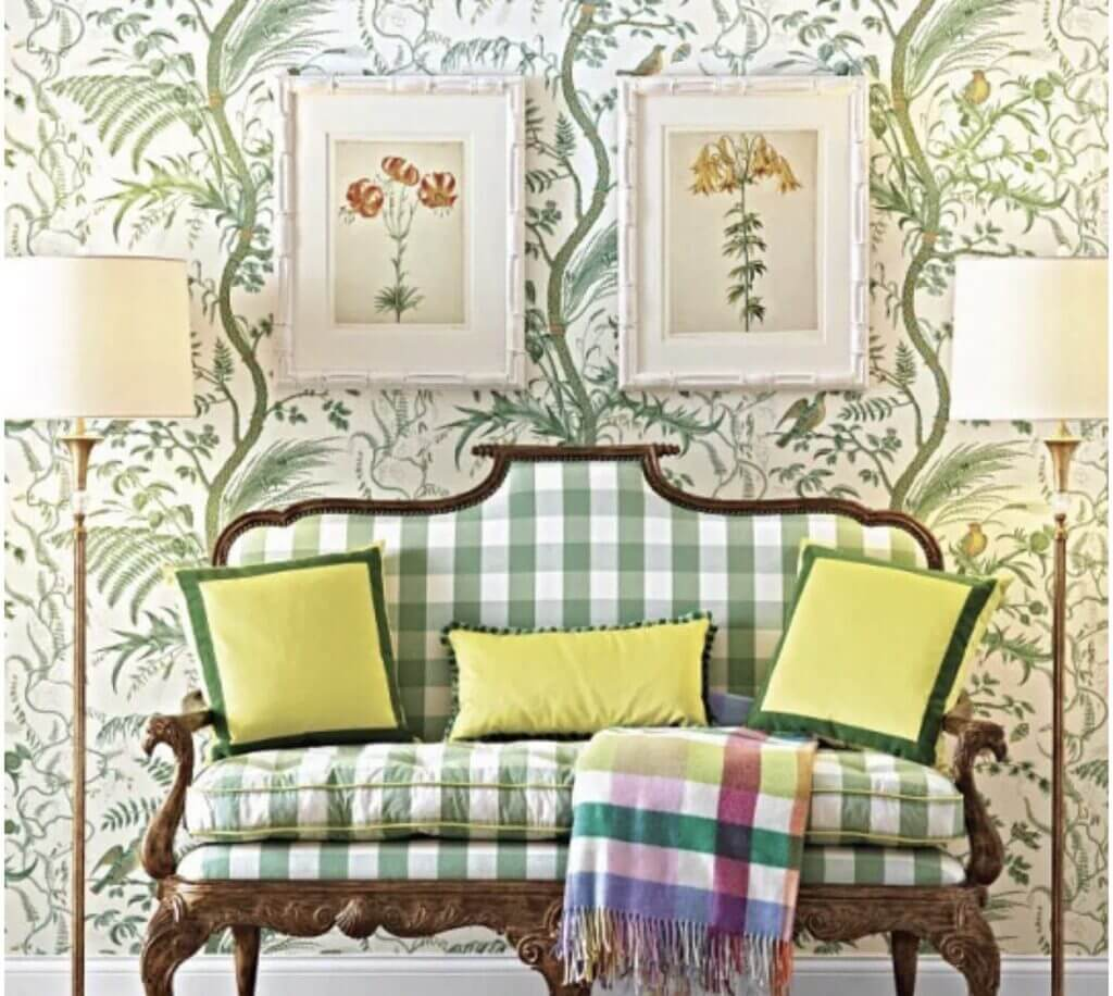 Green and white buffalo check settee