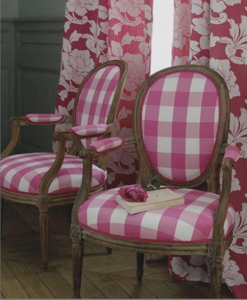 hot pink buffalo check chairs