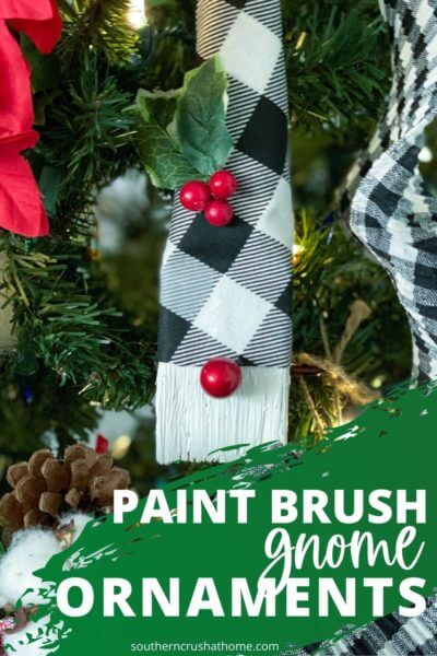 buffalo check paint brush gnome ornament pin