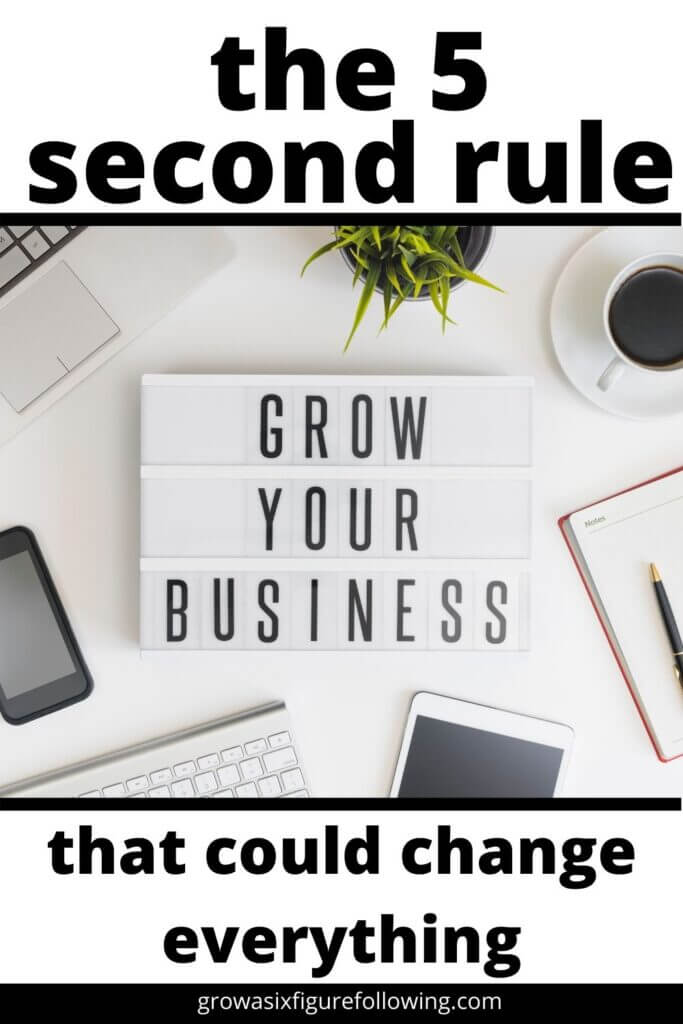 5 second rule grow your business letter board