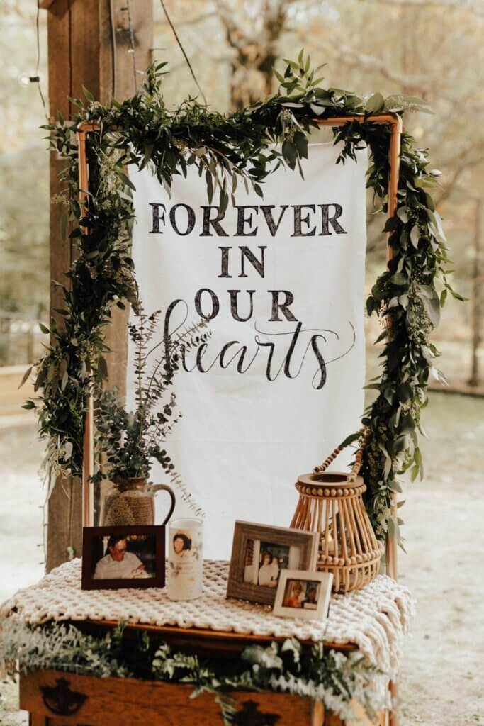 DIY forever in our hearts wedding sign