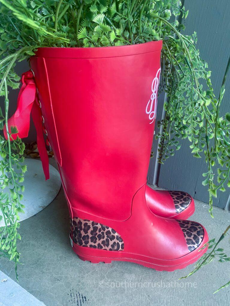 Designer Foil Finish red rain boots side view