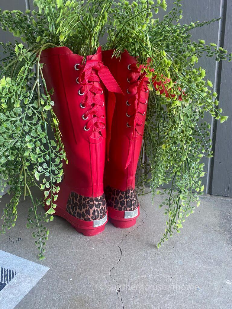 Designer Foil Finish red rain boots back side