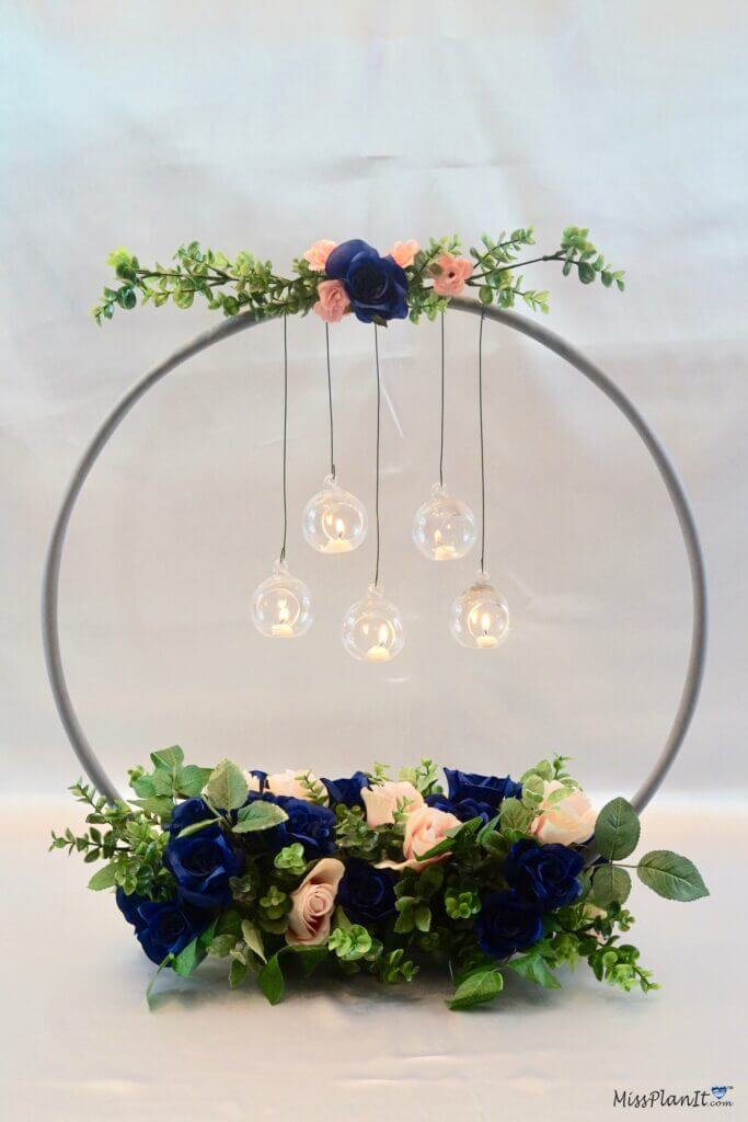 diy wedding centerpiece with hoop and hanging globes
