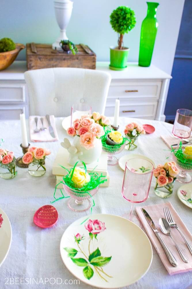 Pretty-in-Pink-Spring-Tablescape-vintage-pink-roses-pink-egg-butter-pat