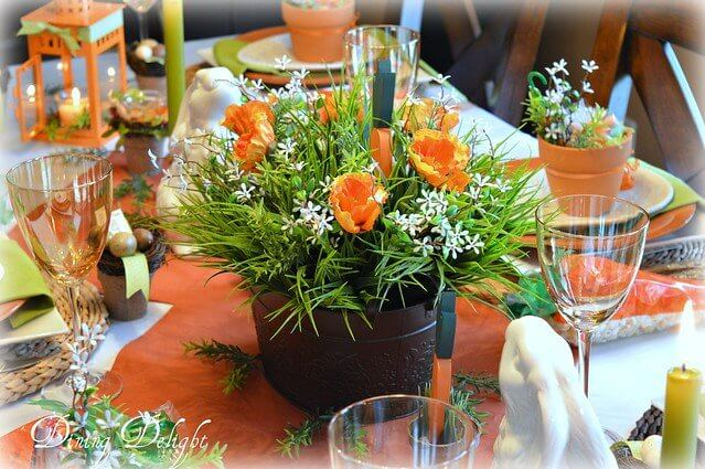 bunnies and carrots Easter tablescape