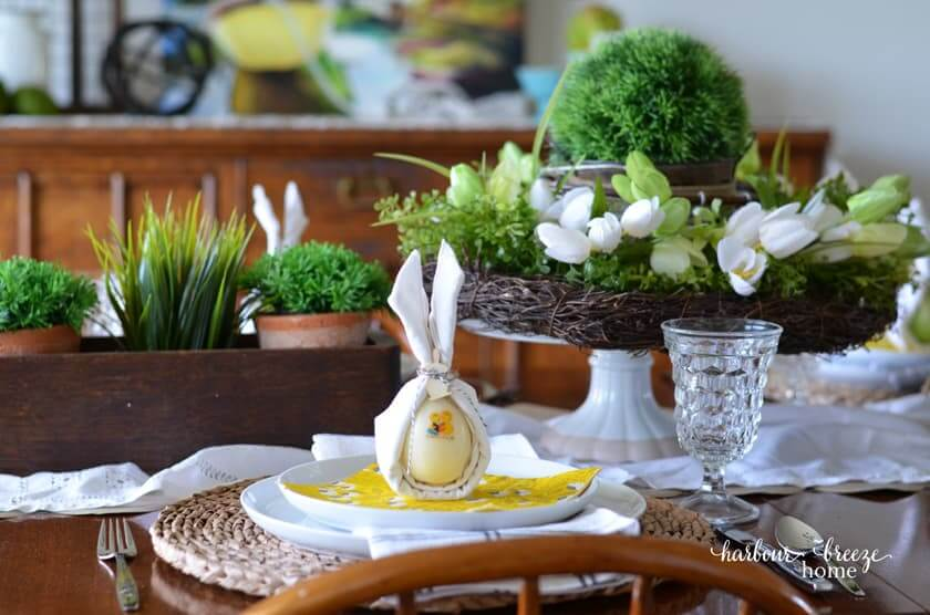centerpiece for Easter tablescape