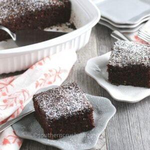 Chocolate Zucchini Cake Served on plates