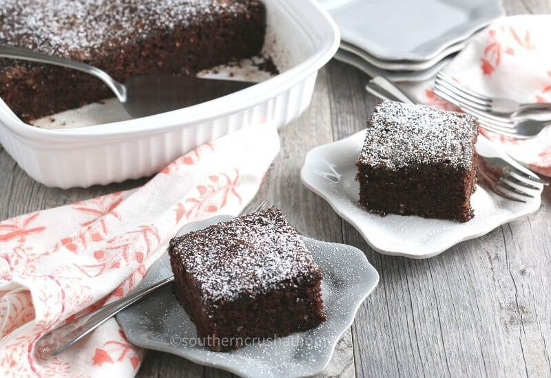 Chocolate Zucchini Cake Served on plates