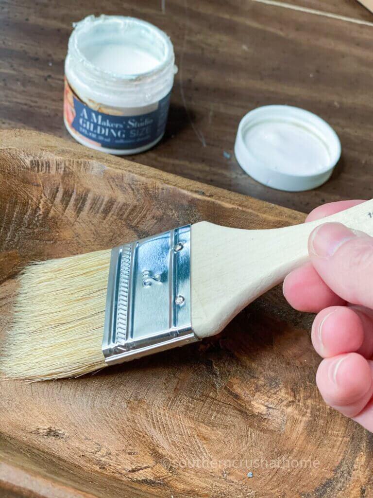 brushing on gilding size