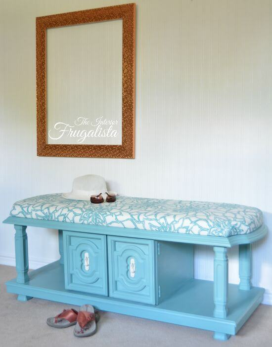 blue painted bench from coffee table
