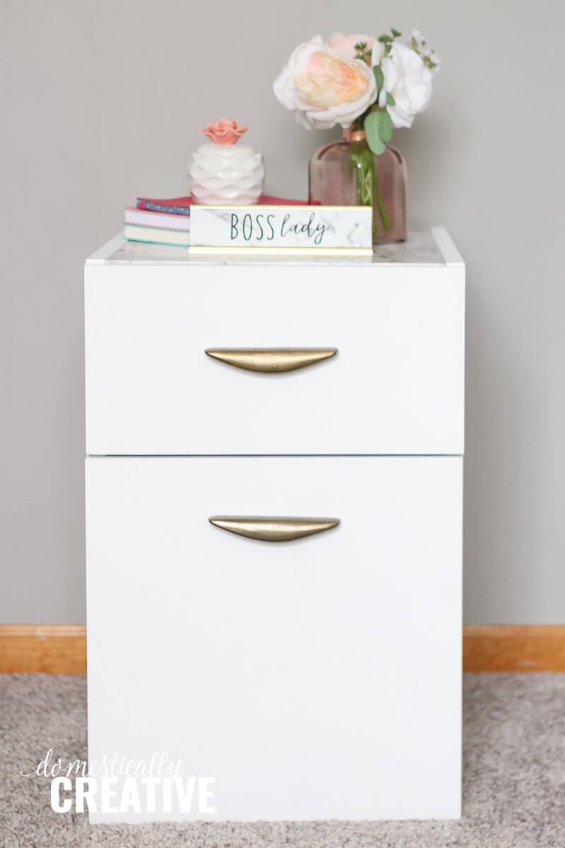white file cabinet makeover