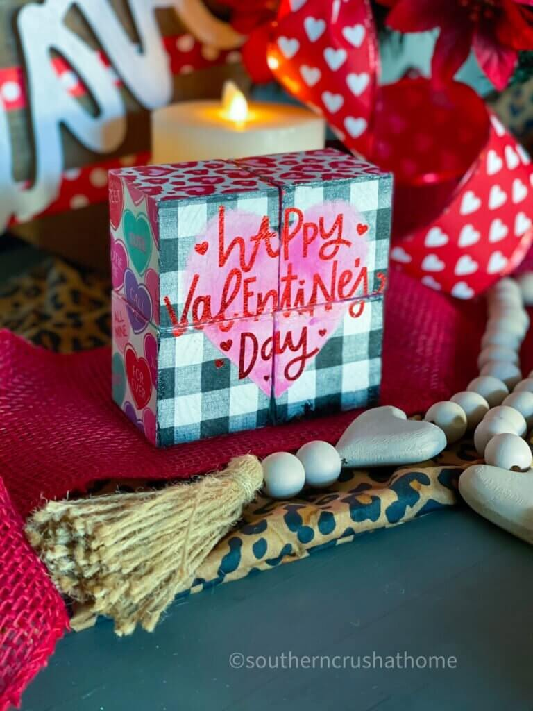 valentines wood block decor styled