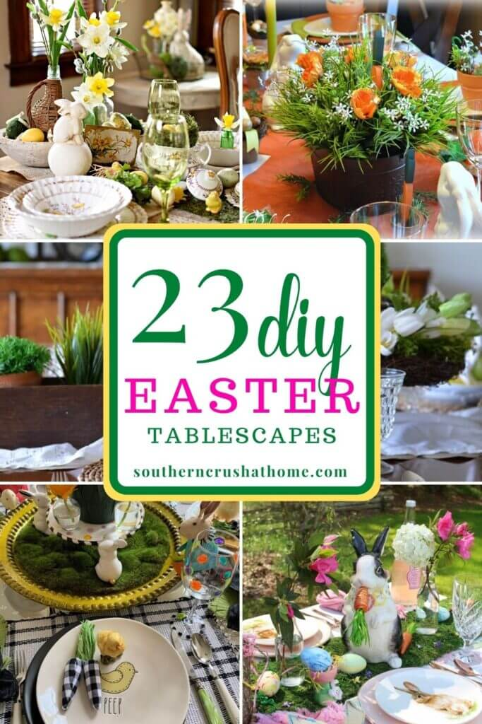 23 diy easter tablescapes pin image
