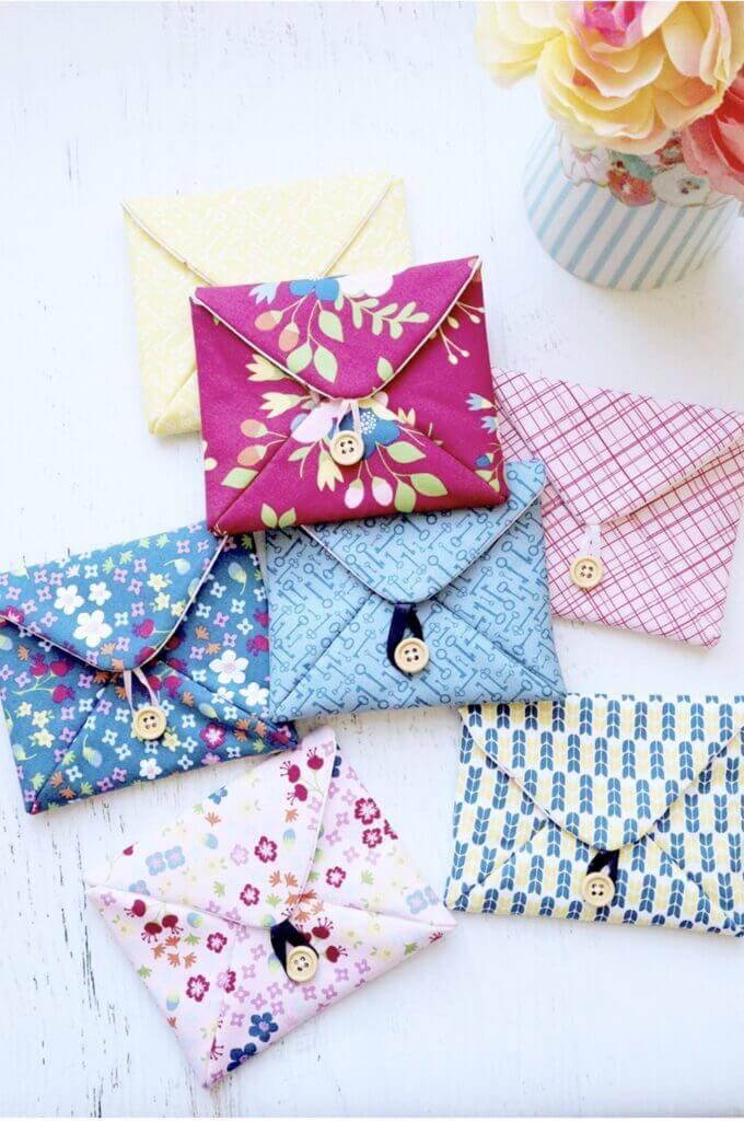 fabric envelopes diy mulitcolor