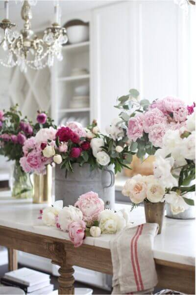 french country cottage floral arrangements on island