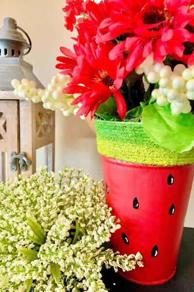 watermelon planter diy closeup