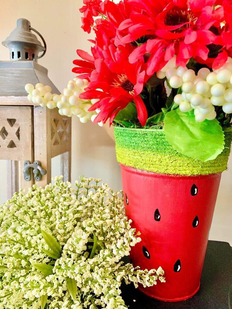watermelon planter diy closeup